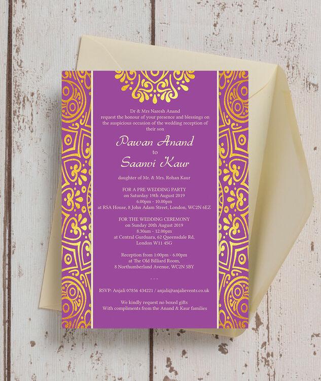 purple mandala indian    asian wedding invitation from  u00a30