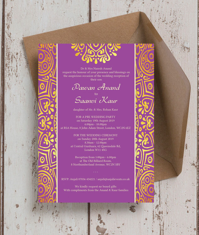 Islamic Wedding Gifts Uk: Purple Mandala Indian / Asian Wedding Invitation From £1