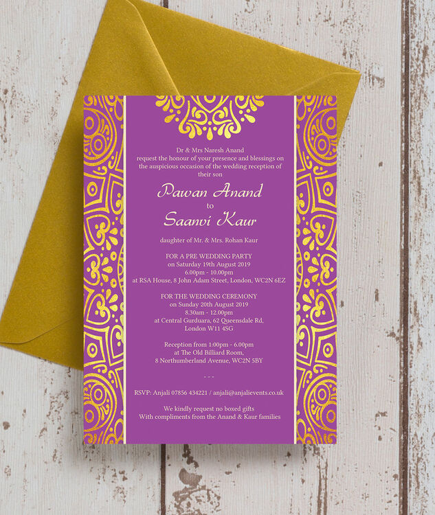 Red And Gold Muslim Wedding Invitation Card Ssc10r: Purple Mandala Indian / Asian Wedding Invitation From £0
