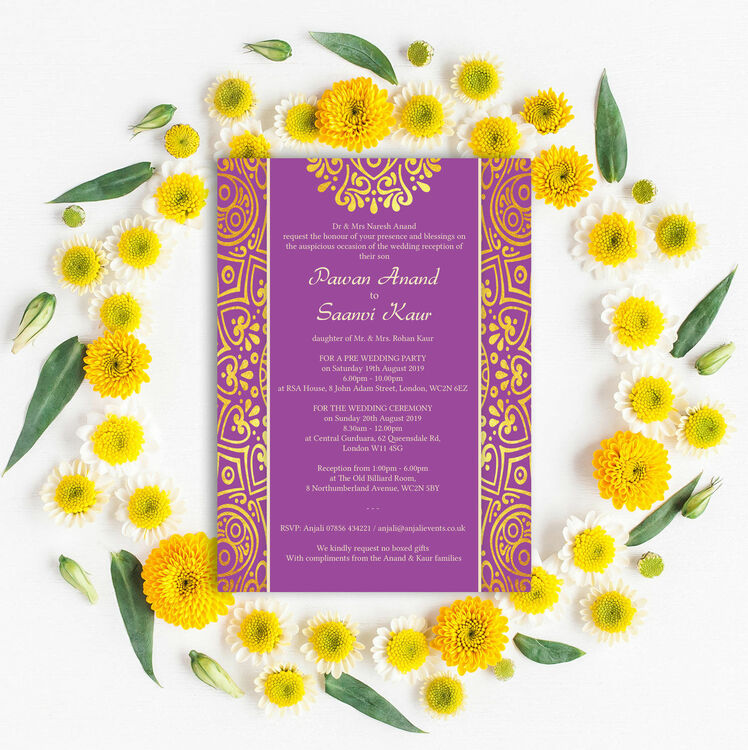 Purple Mandala Indian / Asian Wedding Invitation from £1.00 each
