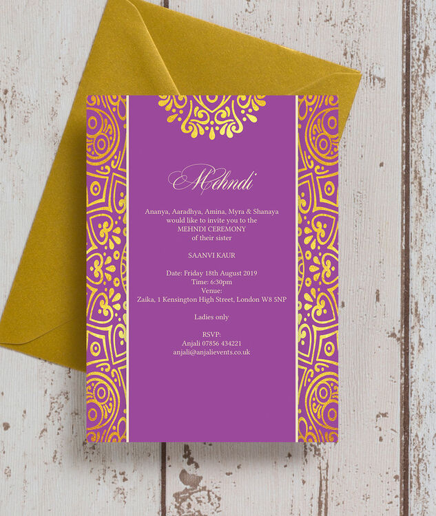 Red And Gold Muslim Wedding Invitation Card Ssc10r: Purple Mandala Mehndi / Baraat Card From £0.85 Each