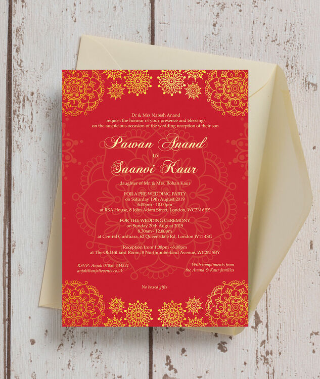 Silver Indian Wedding Invitation: Red & Gold Indian / Asian Wedding Invitation From £0.90 Each