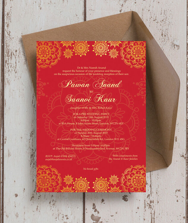 Red Gold Indian Asian Wedding Invitation From 0 90 Each
