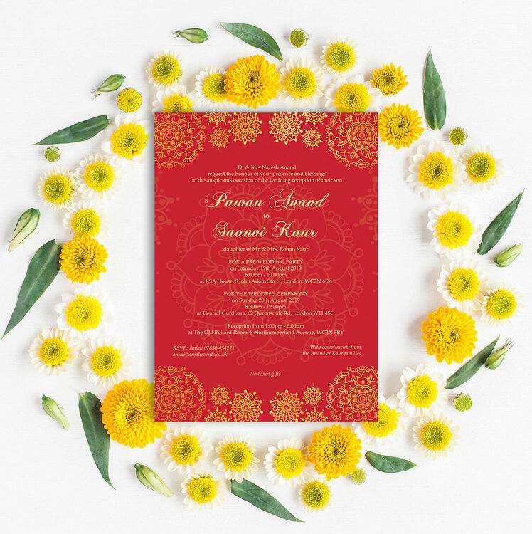 Red & Gold Indian / Asian Wedding Invitation from £1.00 each