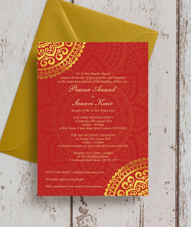Red And Gold Muslim Wedding Invitation Card Ssc10r: Red & Gold Mandala Indian / Asian Wedding Invitation From