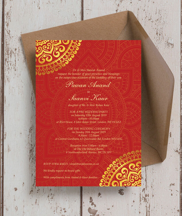 Red Gold Mandala Indian Asian Wedding Invitation from 100 each