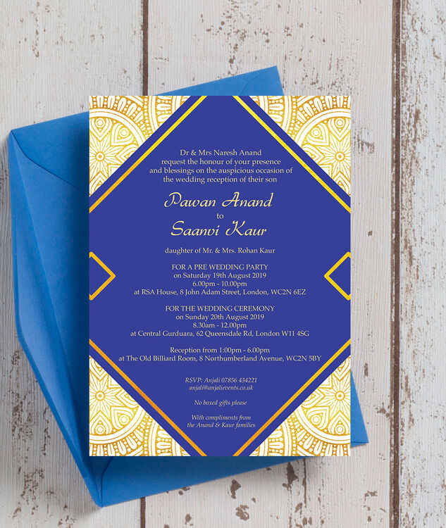 Royal Blue & Gold Indian / Asian Wedding Invitation From £