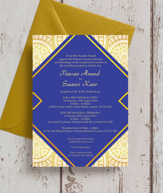 Gold And Blue Wedding Invitations: Royal Blue & Gold Indian / Asian Wedding Invitation From £