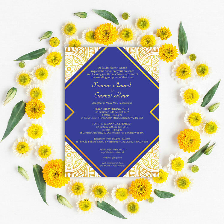 Royal Blue & Gold Indian / Asian Wedding Invitation from £1.00 each