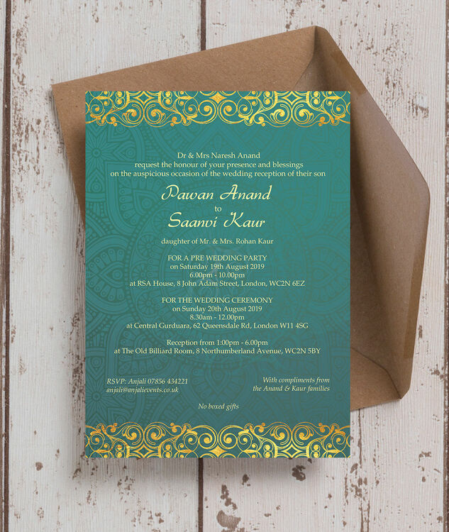 Silver Indian Wedding Invitation: Teal & Gold Indian / Asian Wedding Invitation From £0.90 Each