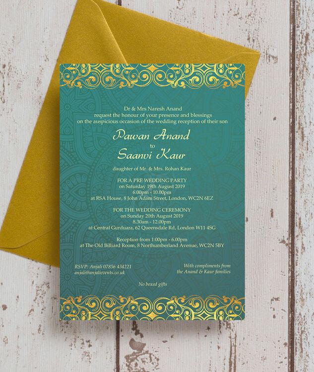 teal  u0026 gold indian    asian wedding invitation from  u00a30 90 each