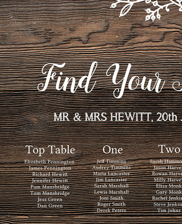 Rustic Wood & Lace Wedding Seating Plan from £40.00 each