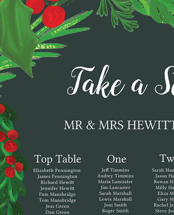 Winter Berries Wedding Seating Plan From £40.00 Each