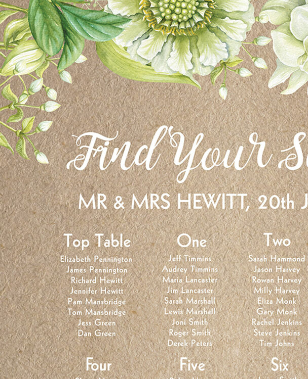 Rustic Greenery Wedding Seating Plan from £40.00 each