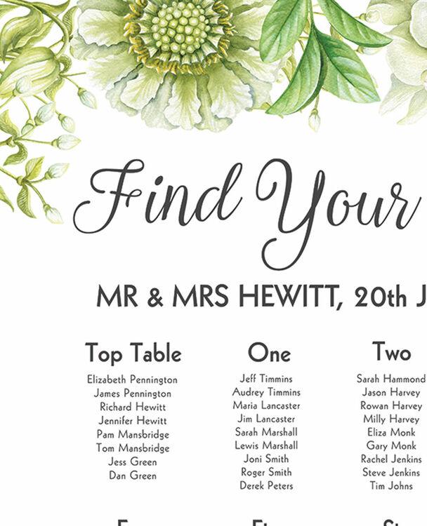 Greenery Wedding Seating Plan From £40.00 Each