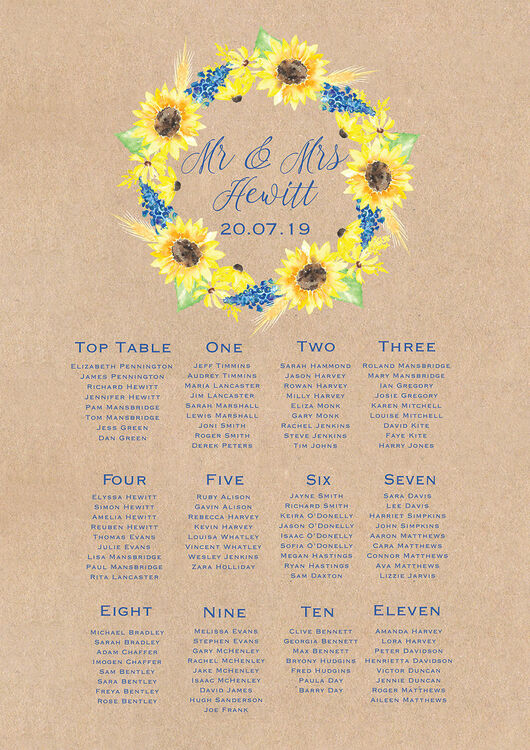 Rustic Sunflower Wedding Seating Plan from £40.00 each