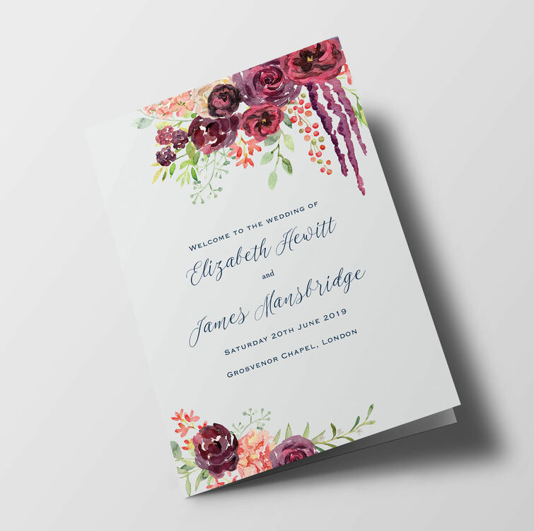 Burgundy Floral Wedding Order of Service Booklet from £1.20 each