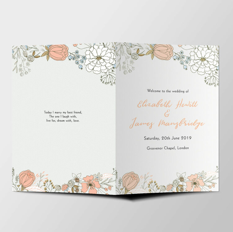 Wild Flowers Wedding Order of Service Booklet from £1.20 each