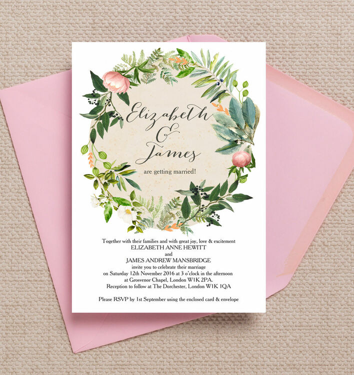 Flora wreath wedding invitation from 100 each flora wreath wedding invitation additional 3 stopboris Image collections