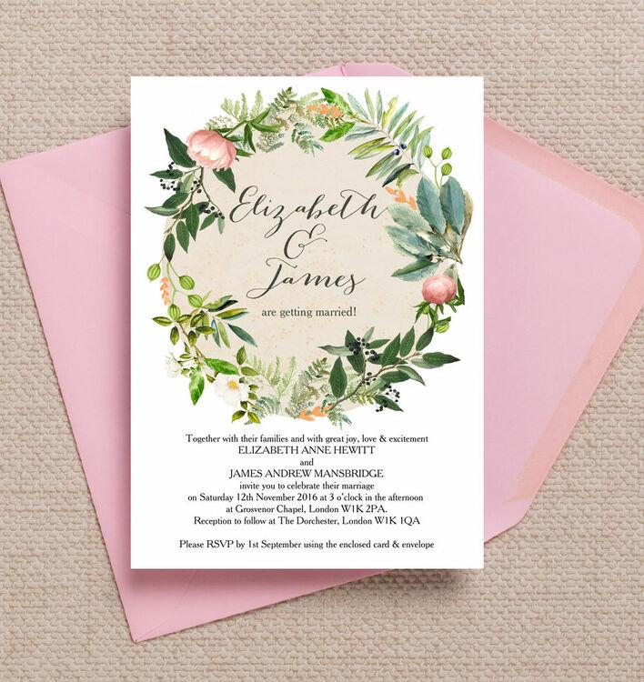 Flora Wreath Wedding Invitation From £1.00 Each