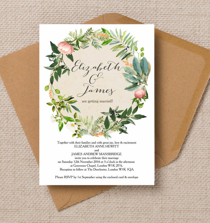 Flora Wreath Wedding Invitation From £1.00 Each