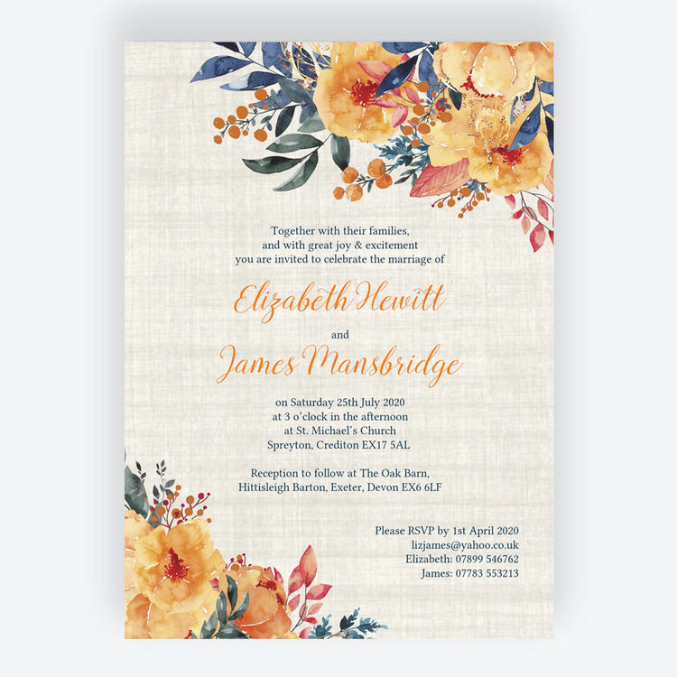 Autumn Orange Floral Wedding Invitation From 163 1 00 Each