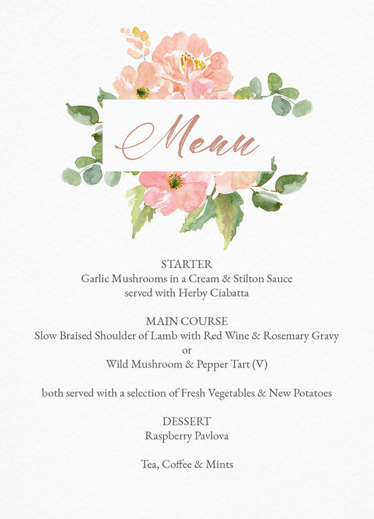 Blush Pink Flowers Menu From 100 Each