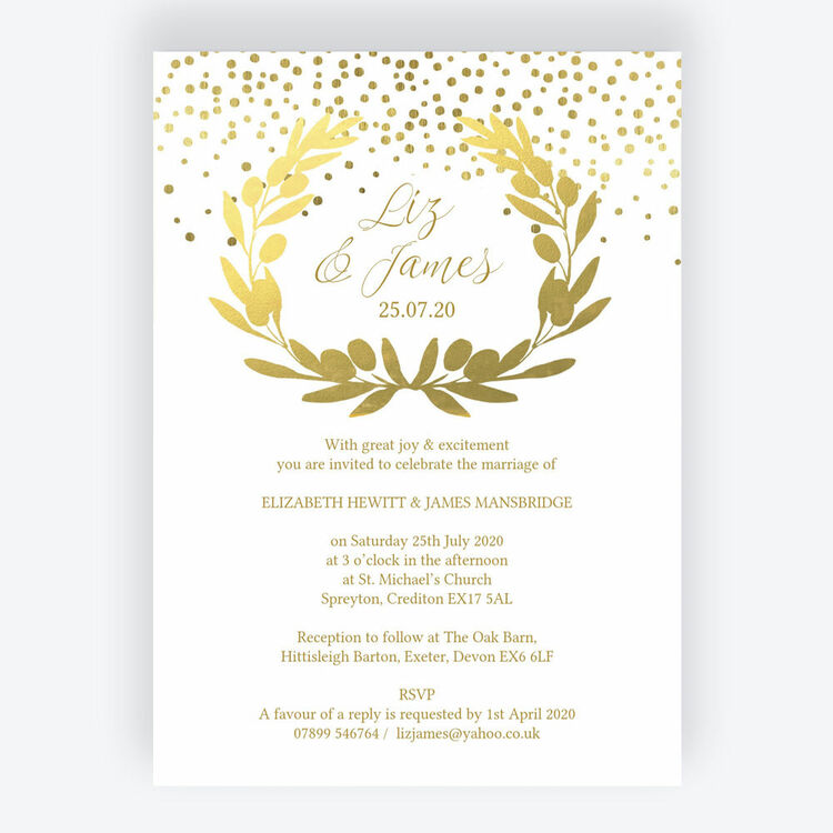 278aba0bea77 Golden Olive Wreath Wedding Invitation additional 1 ...