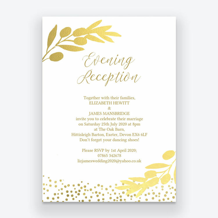 Invitation For Reception After The Wedding: Golden Olive Wreath Evening Reception Invitation From £0