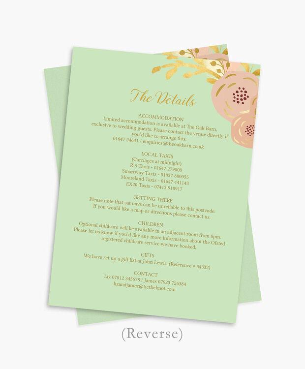 Mint Invitations Wedding: Mint, Blush & Gold Wedding Invitation From £1.00 Each