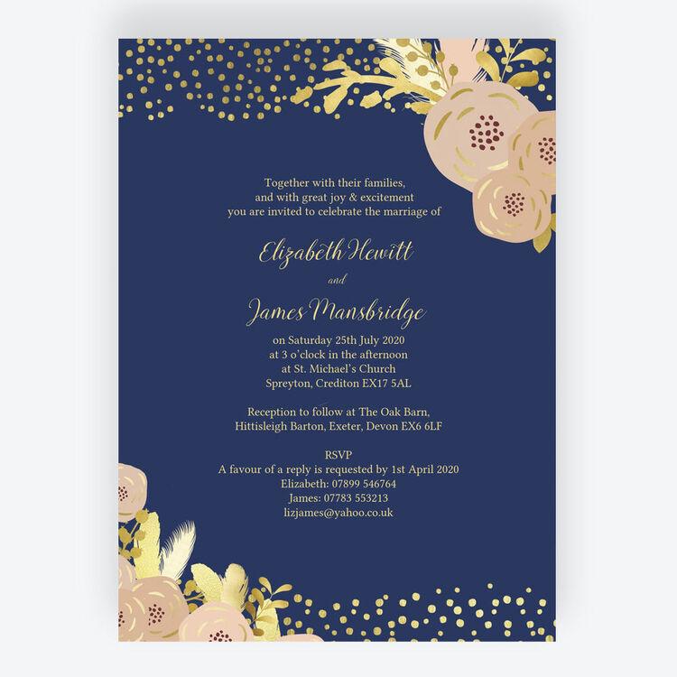 Gold And Blush Wedding Invitations: Navy, Blush & Gold Wedding Invitation From £1.00 Each