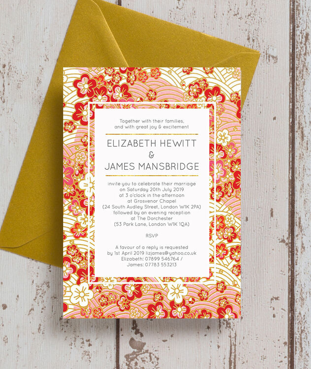 Origami Wedding Invitations: Origami Floral Wedding Invitation From £1.00 Each