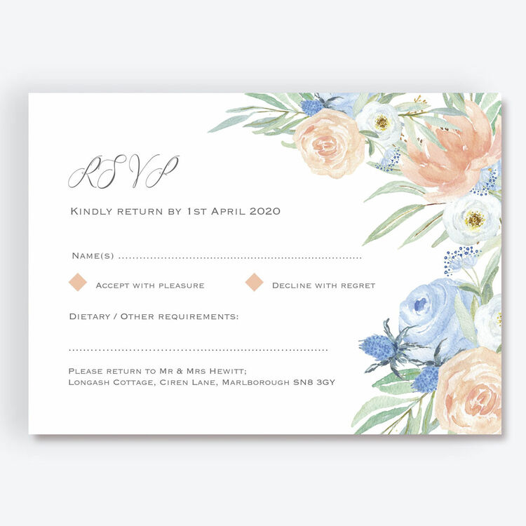 10 RSVP CARDS navy blue and pink flowers floral white wedding invitations reply