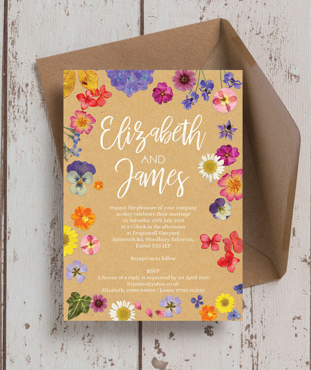 Pressed Wedding Flowers: Pressed Flowers Wedding Invitation From £1.00 Each