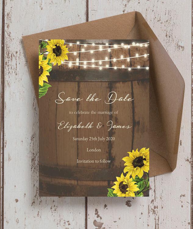 rustic barrel  u0026 sunflowers wedding save the date from  u00a30