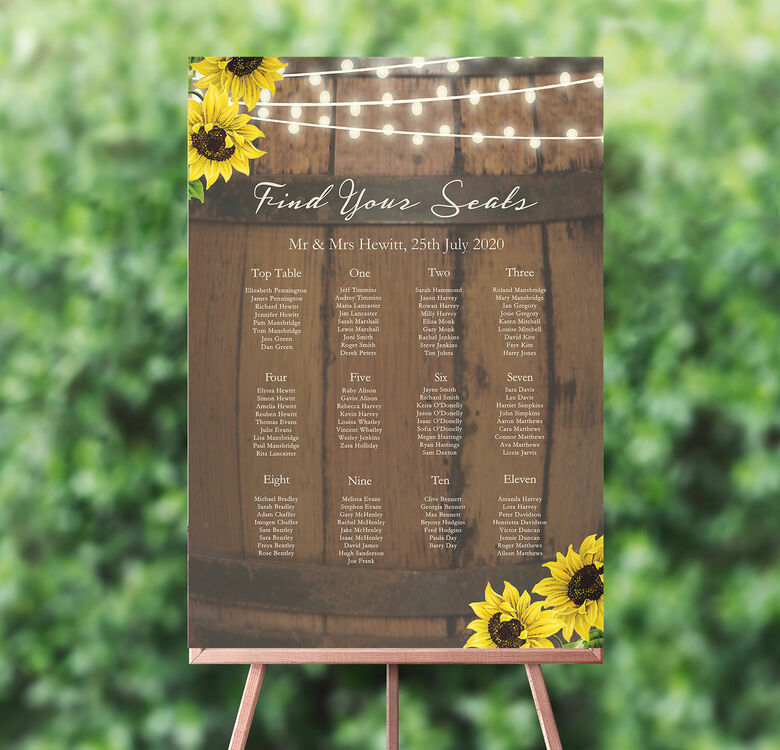 Rustic Wedding Seating Chart Ideas: Rustic Barrel & Sunflowers Wedding Seating Plan From £40