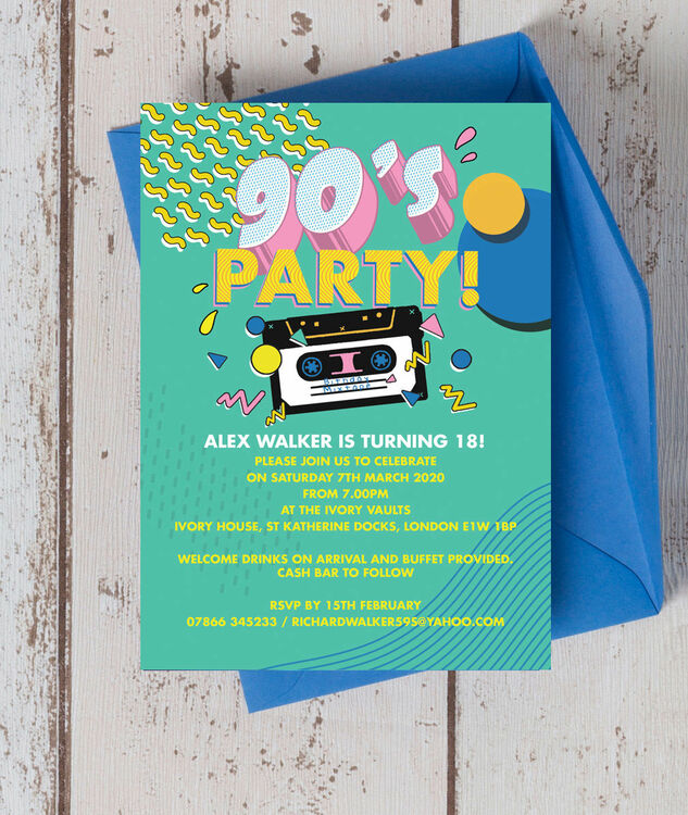 Retro 1990s 18th Birthday Party Invitation From £0.90 Each