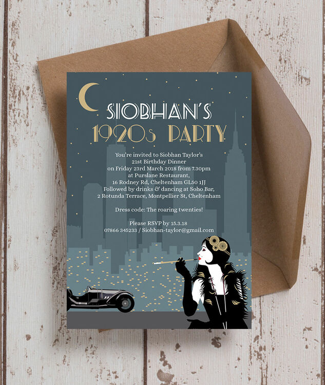 Great Gatsby 1920s Art Deco 21st Birthday Party Invitation from £0.90 each