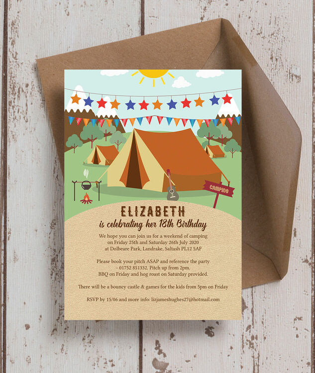 Camping 18th Birthday Party Invitation