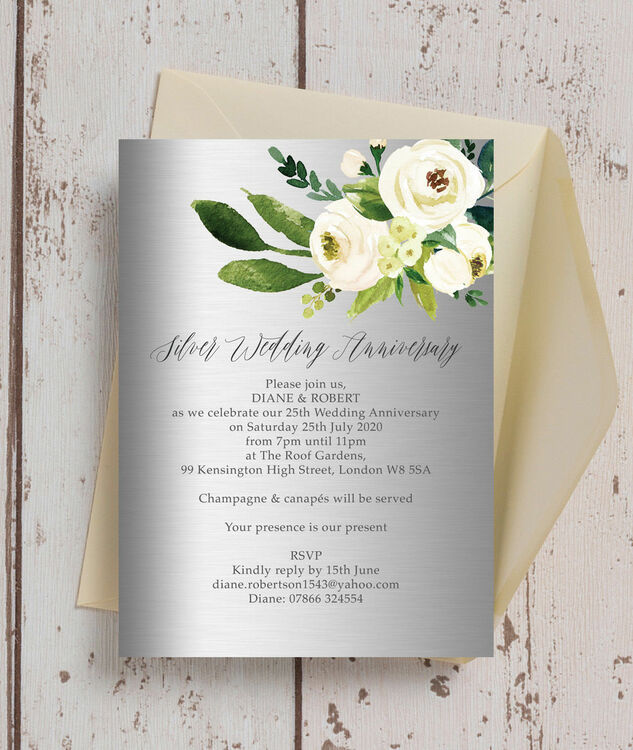 Grey & Cream Flowers 25th / Silver Wedding Anniversary Invitation