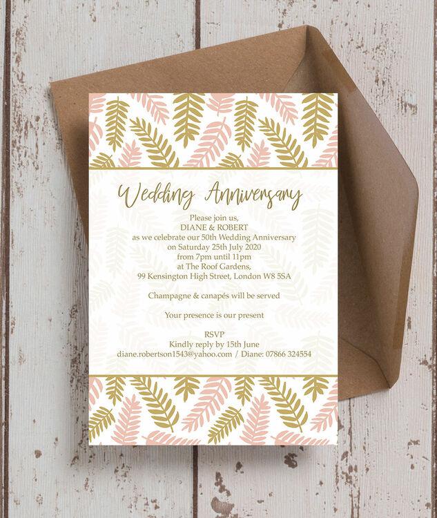 50th Wedding Anniversary Invitations.Blush Gold Leaves 50th Gold Wedding Anniversary Invitation