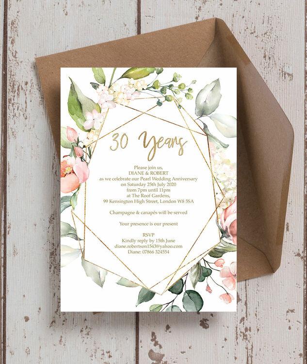 30th Wedding Anniversary Invitations: Floral & Gold Frame 30th / Pearl Wedding Anniversary
