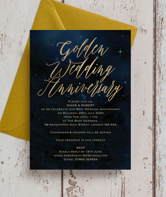 Starry Night 50th Gold Wedding Anniversary Invitation From 0 90 Each