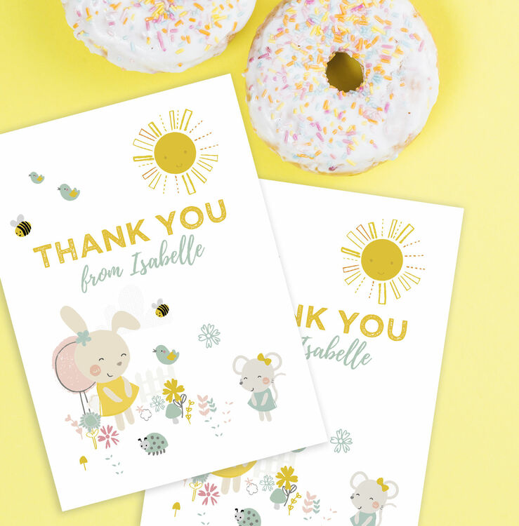 Bunny Mouse Personalised Thank You Card Only 5 00