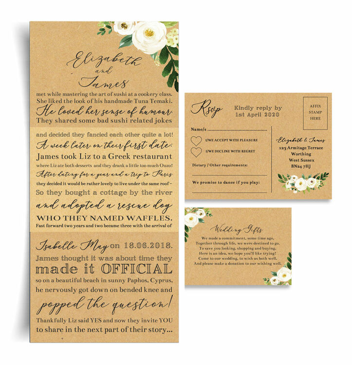 Our Love Story Wedding Idea: 'Our Love Story' Cream Flowers Wedding Invitation From £2