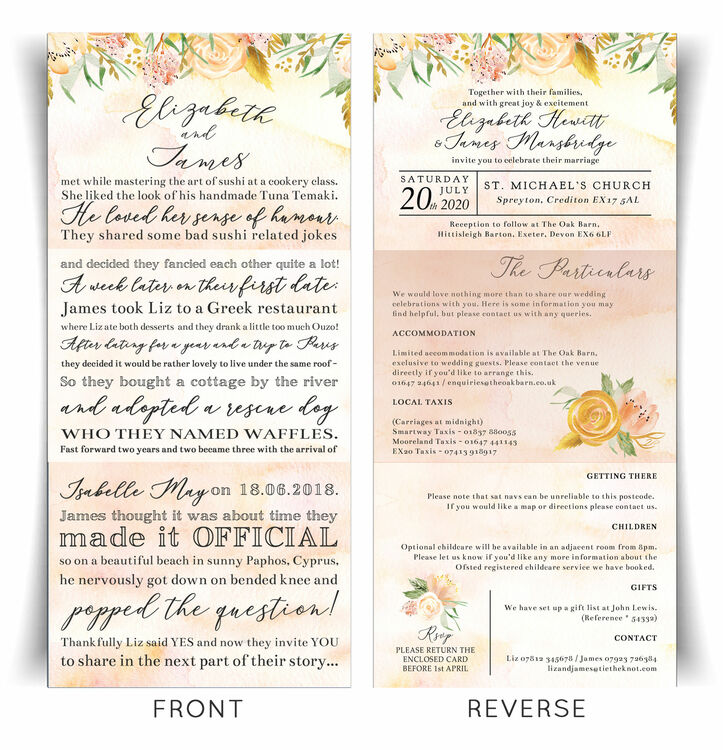 'Our Love Story' Gold Floral Wedding Invitation From £2.25