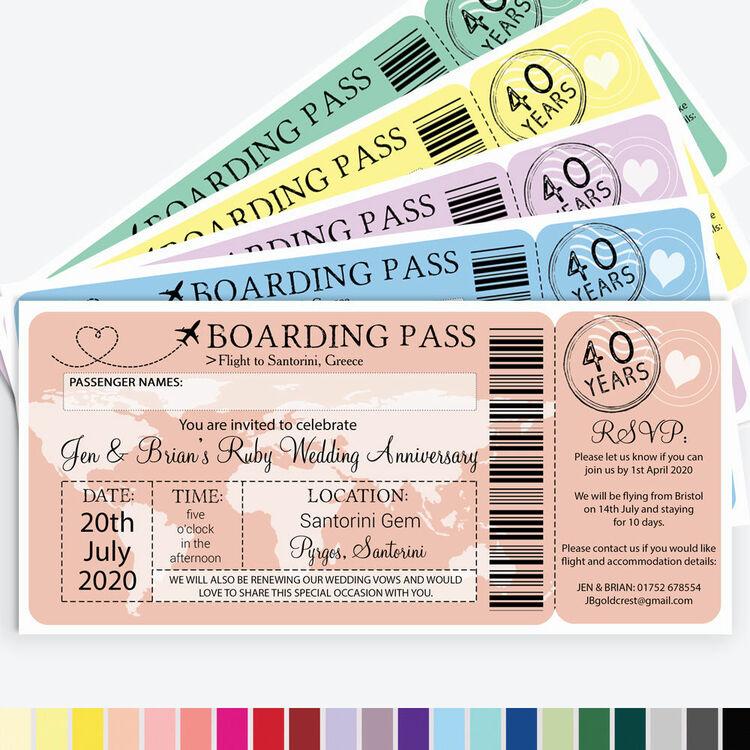boarding pass wedding anniversary invitation from £090 each