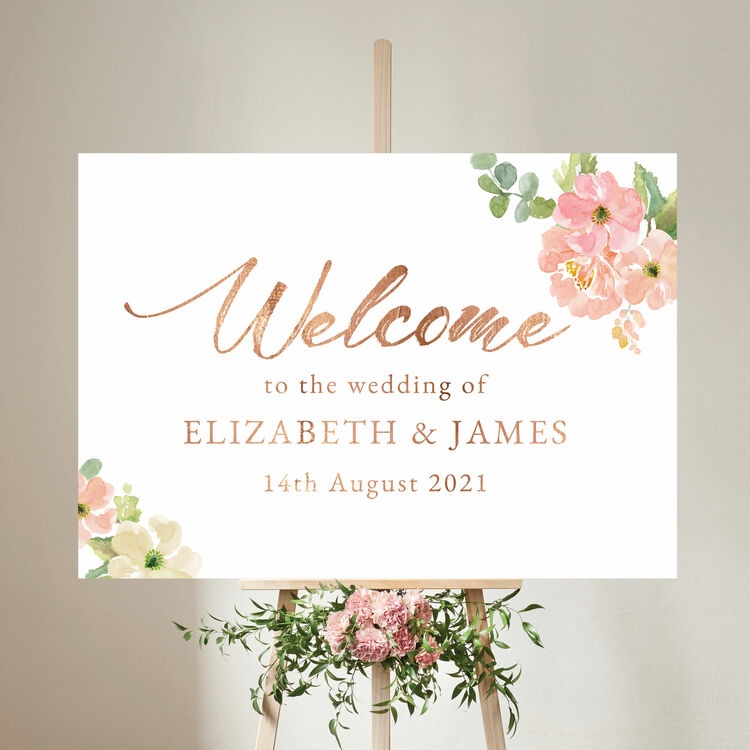 Wedding Welcome Sign.Blush Pink Floral Wedding Welcome Sign