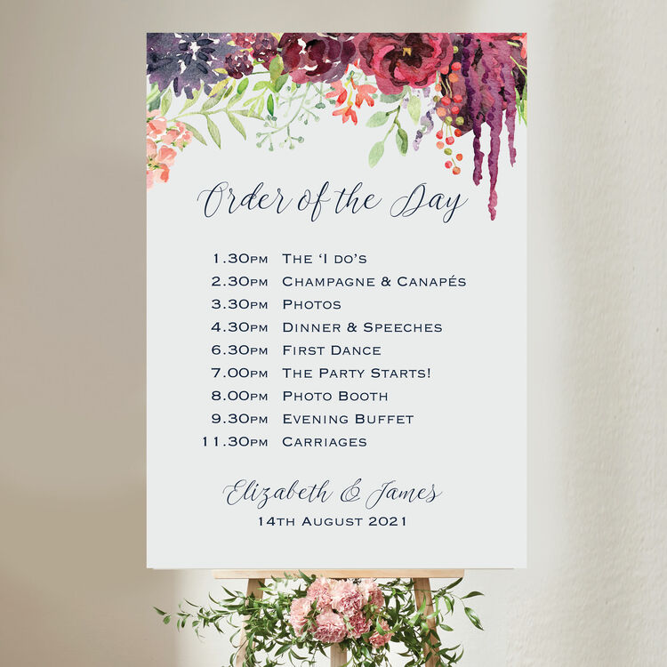 Burgundy Floral Wedding Order Of The Day Sign From 40 00 Each