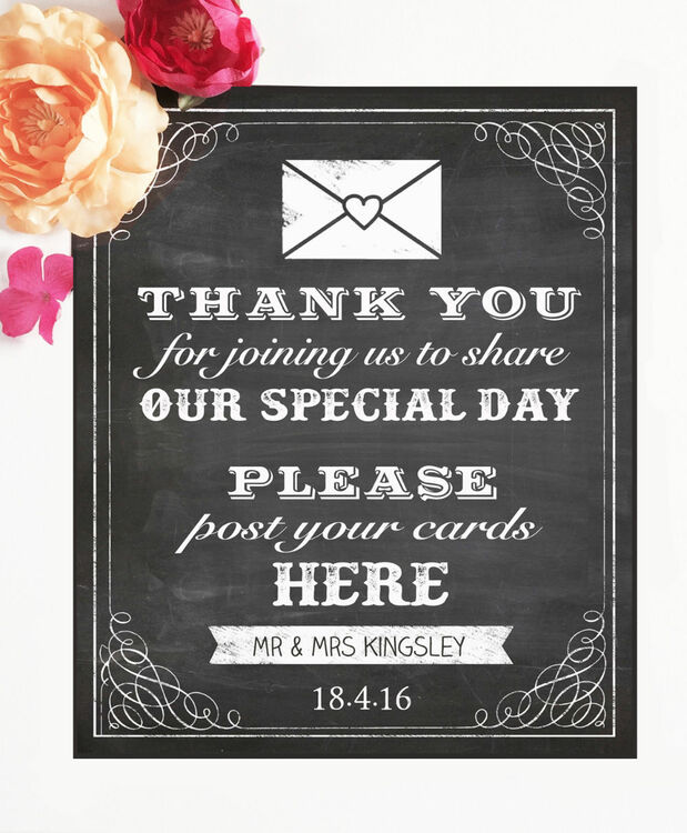Vintage Chalkboard Wedding Post Box Sign/Poster From £4.00